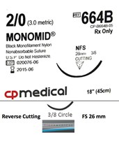 Monomid® Non-Absorbable Sutures with Reverse Cutting Needles, Size 2-0, 3/8 Circle, 12 per Box CPM664B-