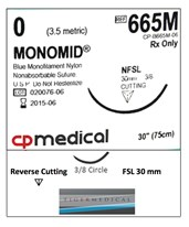 Monomid® Non-Absorbable Sutures with Reverse Cutting FSL Needles, 3/8 Circle, 12 per Box CPM665M