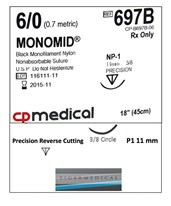 Monomid® Non-Absorbable Sutures with Precision Reverse Cutting P1 Needles, 3/8 Circle, 12 per Box CPM697B