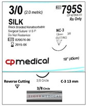 Braided Natural Silk Non-Absorbable Sutures with Reverse Cutting Needles, 3/8 Circle, 12 per Box CPM795S-