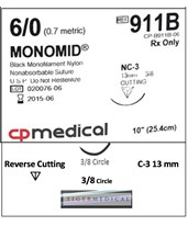 Monomid® Non-Absorbable Sutures with Reverse Cutting Needles, 3/8 Circle, 12 per Box CPM913B-