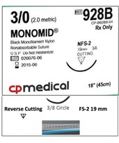 Monomid® Non-Absorbable Sutures with Reverse Cutting FS-2 Needles, 3/8 Circle, 12 per Box CPM928B-