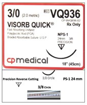 VISORB QUICK® PGA Synthetic Absorbable Sutures with Precision Reverse Cutting Needles, 3/8 Circle, 12 per Box CPMVQ936-
