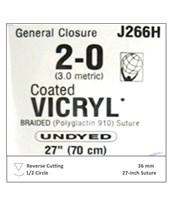 Coated VICRYL® Absorbable Sutures with Reverse Cutting  Needles, 1/2 Circle, 36 per Box ETHJ266H-