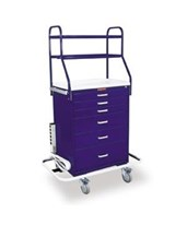 Classic Six Drawer Monitor Cart with Overhead Shelving and Key Lock HAR6650-