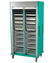 Medstor Max Preconfigured Double Column Laparoscopy Medical Storage Cart with Tambour Door HARMS8140-LAP
