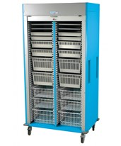 Medstor Max Preconfigured Double Column Ophthalmology Medical Storage Cart with Tambour Door HARMS8140-OPTHA