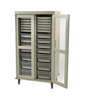 Preconfigured Double Column Medical Storage Cart with Clear Panel Doors HARMS8140DR-A-