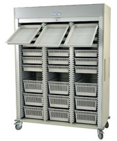 Medstor Max Preconfigured Triple Column Arthroscopic Medical Storage Cart with Tambour Door HARMS8160-ARTHRO