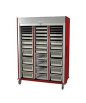 Medstor Max Preconfigured Triple Column Cardiovascular Medical Storage Cart with Tambour Door HARMS8160-CARDIO