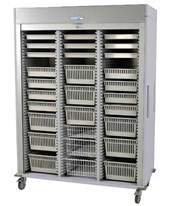 Medstor Max Preconfigured Triple Column Laparoscopy Medical Storage Cart with Tambour Door HARMS8160-LAP
