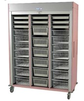 Medstor Max Preconfigured Triple Column Orthopedic Medical Storage Cart with Tambour Door HARMS8160-ORTHO