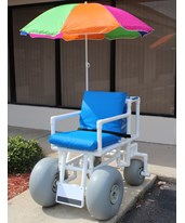 WHEELEEZ: PVC Beach Wheelchair ‐ Swivel Back wheels HMPROLLEEZ