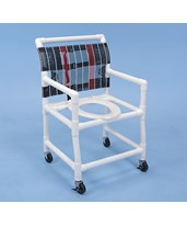 "PVC Shower Chair with Deluxe Elongated Commode Seat - 21"" Width HMPSC6013W"