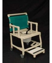 "PVC Drop Arm Shower Chair with Vaccum Seat, Sliding Footrest and Pail - 21"" wide HMPSC6013WVAC-SFDA-C7"