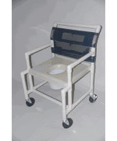 "PVC Shower Chair with Vaccum Seat, Extended Front - 24"" wide HMPSC6014X-VAC-EF"