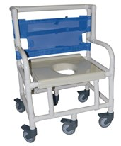 "Extra Wide Bariatric PVC Shower Commode Chair, 26"" Wide HMPSC6014XBP600-KIT"