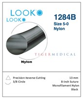 Nylon Non-Absorbable Sutures with Precision Reverse Cutting Needles, 3/8 Circle, 12 per Box LOO1284B-