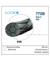 Silk Non-Absorbable Sutures with Reverse Cutting Needles, 3/8 Circle, 12 per Box LOO772B-