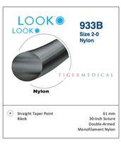 Nylon Non-Absorbable Double Armed Sutures with Straight Taper Point Needles, 12 per Box LOO933B