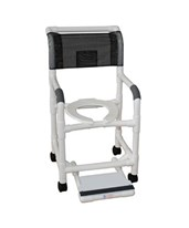 Commode Shower Chair with Double Drop Arms and Sliding Footrest MJM118-3-DDA-SF-SSDE