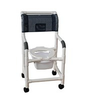 Commode Shower Chair with Heavy Duty Casters and Commode Pail MJM118-5-SQ-PAIL