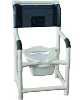 "18"" Stationary Commode Shower Chair with 10 Quart Pail and Ring Cushioned Seat MJM118-LP-10-QT-C-CS"