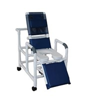 "24"" Reclining Shower Commode with Soft Seat and Elevated Leg Extensions MJM193-24-SSDE"