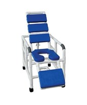Reclining Shower Chair with Soft Padded Blue Seat, Back, and Leg Extensions MJM193-SSDE-TP-BL