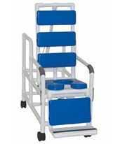 Tilt-N-Space Reclining Shower Chair w/ Soft Seat Deluxe Elongated & Blue Total Padding MJM193-TIS-TP-BL