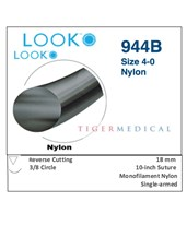Nylon Non-Absorbable Sutures with Reverse Cutting Needles, 3/8 Circle, 12 per Box LOO944B-