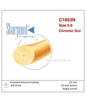 Chromic Gut Absorbable Sutures with Precision Reverse Cutting Needles, 1/2 Circle, 12 per Box SSPC1653N-