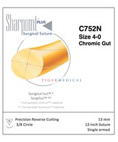 Chromic Gut Absorbable Sutures with Precision Reverse Cutting Needles, 3/8 Circle, 12 per Box SSPC752N-