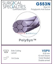 PolySyn™ Violet Braided Polyglycolic Acid Side Cutting Lancet Sutures, 12 per Box SSPG553N-