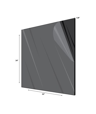 "Acrylic Plexiglass Sheet 1/8 Inches Thick 24"" x 24"" Black"