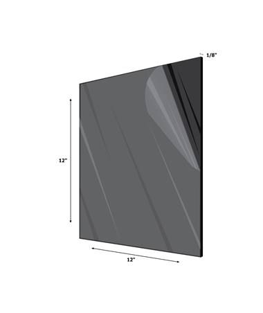 "Acrylic Plexiglass Sheet 1/8 Inches Thick 12"" x 12"" Black"