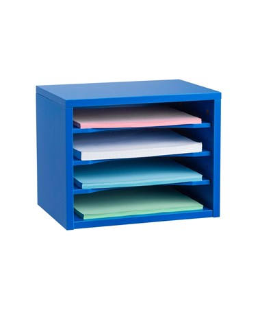 Stackable Desk Organizer with Removable Shelves, Curved Edge ADI502-01-BLU- Blue