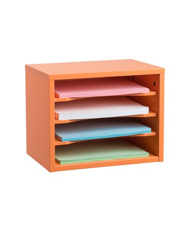 Stackable Desk Organizer with Removable Shelves, Curved Edge ADI502-01-ORG- Orange