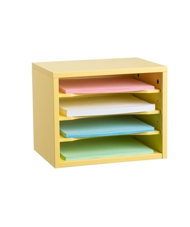 Stackable Desk Organizer with Removable Shelves, Curved Edge ADI502-01-YEL Yellow