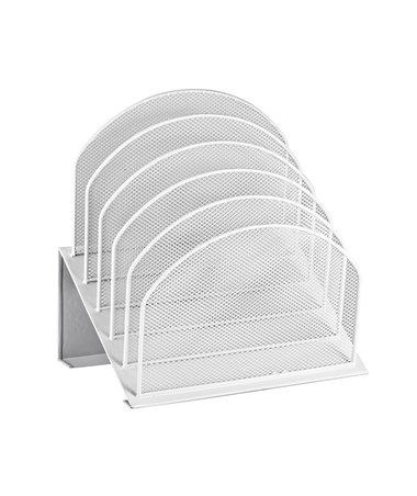 AdirOffice Mesh 5 Slot Desktop Incline Organizer - White ADI634-01-WHI