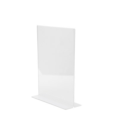 AdirOffice 8.5 x 11 Inches Clear T-Shaped Base Sign Holder ADI639-8511-3-TS