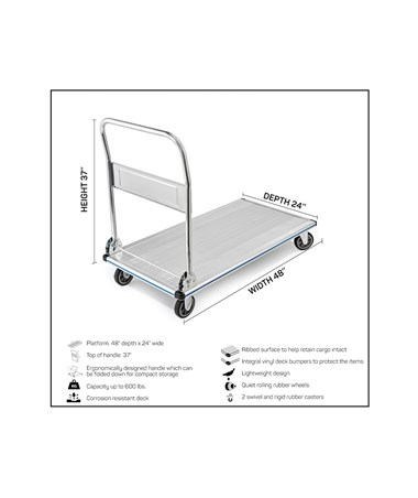 AdirOffice Folding Aluminum Platform Truck 48'' x 24'' ADI690-00 - specifications