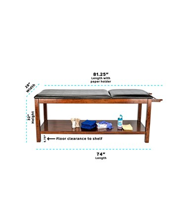 Wooden Exam Table with Full Shelf - 7