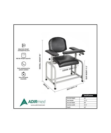 AdirMed Padded Blood Drawing Chair ADI997-01-BLK- Dimensions