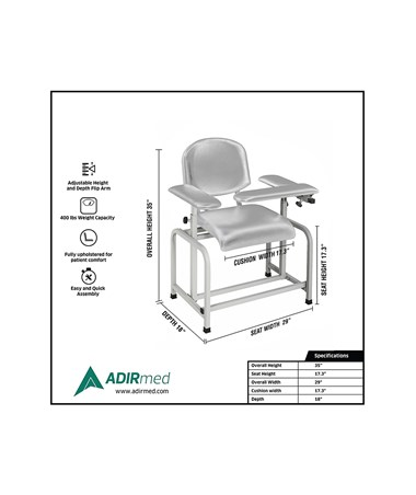 AdirMed Padded Blood Drawing Chair - Grey, Specs