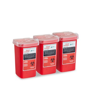 Sharps and Needle Disposal Container 1 Quart - 3 Pack