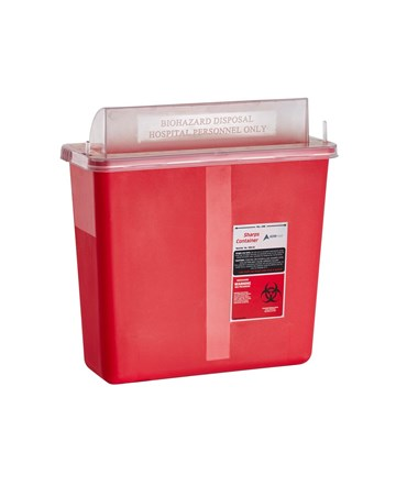 Sharps Container 5 Quart with Mailbox Style Horizontal Lid - Single Pack(Close Preview)