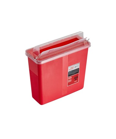 Sharps Container 5 Quart with Mailbox Style Horizontal Lid - Single Pack (Open Preview)
