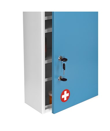 AdirMed Large Steel Medication Cabinet, Dual Lock - Blue
