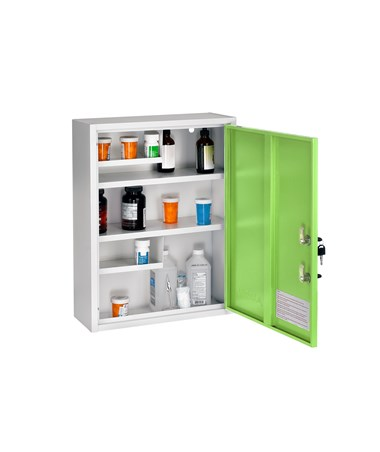 AdirMed Large Steel Medication Cabinet, Dual Lock - Green